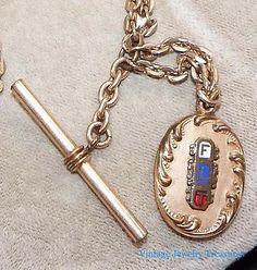 Antique Victorian Watch Chain Gold Filled FLT Fob Odd Fellows