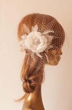 Ivory BIRDCAGE VEIL with Flower, Vintage Style Bridal FASCINATOR by ancoraboutique, $119.00