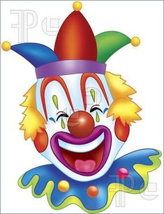 A digitally rendered colorful happy clown. Stock illustration by REY. Included into the 'Clown illustrations' image selection. Baby Painting, Painting For Kids, Art For Kids, Crafts For Kids, Circus Clown, Circus Party, Clown Images, Clown Paintings, Pierrot Clown