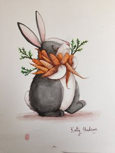 Watch Katy Hudson draw a rabbit – and then win the original picture! The creator of Too Many Carrots lets us watch her draw and paint a rabbit – and you can win the original artwork by entering our giveaway prize draw! Art And Illustration, Rabbit Illustration, Easter Illustration, Animal Illustrations, Rabbit Art, Bunny Rabbit, Rabbit Drawing, Dibujos Cute, Bunny Art