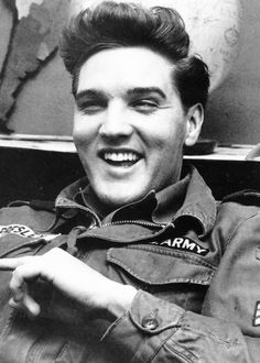 Elvis Presley during an interview at Ray Barracks, Germany, February 1960.