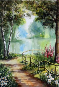 Easy Canvas Painting Ideas for beginner Scenery Paintings, Watercolor Landscape Paintings, Landscape Art, Watercolor Art, Pictures To Paint, Art Pictures, Beautiful Paintings, Beautiful Landscapes, Easy Canvas Painting