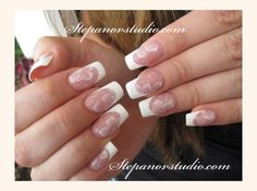 Pinned by www.SimpleNailArtTips.com FRENCH MANICURE NAIL ART DESIGN IDEAS - soft One Stroke flowers over french manicure