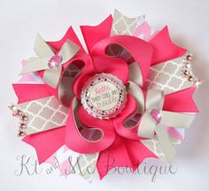 OTT Hair Bow Over The Top Bow Trouble Boutique Bow by KtandMe12 $8.75