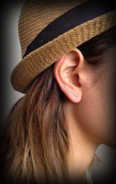 Minimalist Straight Silver Stud Ear Pins Geometric Silver by Pulso