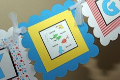 Dr Seuss banner One Fish Two Fish banner by sweetshoppepaperie, $25.00