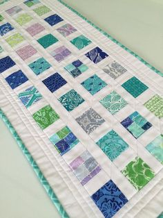 Modern Quilted Blue Green Teal Table Runner by countrysewing4U