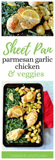 Sheet Pan Parmesan Garlic Chicken and Veggies - A sheet pan dinner without any of the fuss! Just top with a squeeze of lemon right before serving! Easy, quick, and refreshing!