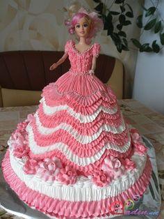 Doll cake Cake Decorating Piping, Cake Decorating Designs, Creative Cake Decorating, Baby Doll Cake, Doll Birthday Cake, Bolo Barbie, Barbie Cake, Wedding Cake Knife Set, Cupcake Cake Designs