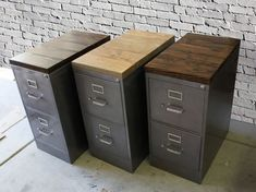 Refinished 2 drawer letter size Metal Filing Cabinet w/ Wood Top / industrial / metal filing cabinet / rustic office furniture post_tags] Used Cabinets, Office Cabinets, Metal Filing Cabinets, Painted File Cabinets, Rustic Cabinets, Storage Cabinets, Rustic Office, Office Decor, Office Setup
