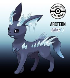Arcteon (Dark/Ice) - On rare occasion, an Eevee can be affected by more than one environmental factor, and reacts to grow into a new, rare evolution. Eevee who live in the northernmost and southernmost regions, who are exposed frigid. Pokemon Go, Pokemon Rare, Pokemon Fusion Art, Pokemon Funny, Pokemon Fan Art, Pokémon Kawaii, Pokemon Eevee Evolutions, Bulbasaur, Satoshi Pokemon