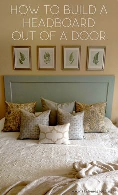 DIY headboards | DIY HEADBOARD-- I like how this is a door -- I bet two doors might look neat, too -- there is another pin that uses a barn door!