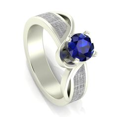 Blue Sapphire Engagement Ring Meteorite In 10k White Gold Womens Gemstone