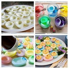 Add some color to your deviled eggs drop the whites into food color vinger & 1/2c of water