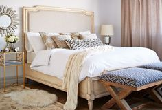A Sophisticated Retreat: Timeless Bedroom Furnishings  White Angie Upholstered Linen Bed