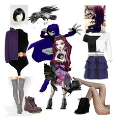 """""""Raven!!!"""" by batgirl-at-the-walking-dead3 ❤ liked on Polyvore featuring D&G, Ippolita, ASOS, Dr. Martens, Topshop, Alice + Olivia, Just Cavalli, Orciani, Manokhi and Wolford"""