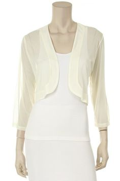 White Sheer Bolero Chiffon 3/4 Length White Chiffon Bolero Jacket (6 Colors Available) $29.99