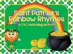 Saint Patricks Rainbow Rhymes ~ CVC Activity! Enter for your chance to win 1 of 2. Saint Patricks Rainbow Rhymes ~ CVC Activity/Center + Practice Sheets  (32 pages) from The Teaching Treehouse on TeachersNotebook.com (Ends on on 02-17-2016) Kids will love practicing rhymes with the Saint Patrick's Rainbow Rhymes activity/center! 40 CVC words: 20 rainbows and 20 pots of gold. Each rainbow/pot has a CVC word and picture. Students match the pictures/words on the rainbows to the matching rhymes…