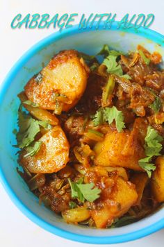 Cabbage with Potato Curry Recipe - Cabbage Aloo Sabzi Recipe - Yummy Tummy Aloo Recipes, Veg Recipes, Curry Recipes, Vegetarian Recipes, Cooking Recipes, Paratha Recipes, Vegetarian Dish, Cooking Tips, Dinner Recipes