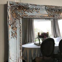Chippy Blue Painted Mirror Bathroom Mirror