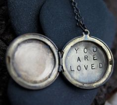 you, yes, you are loved. such an important reminder for you or someone you love :: a whispered hand stamped soul mantra locket