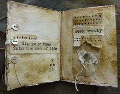 Hello This week I return to the book format, a Slit Book. The springboard for returning to the Slit Book format, actually two springb. Folded Book Art, Paper Book, Book Folding, Paper Art, Fabric Journals, Art Journals, Fabric Books, Homemade Books, Tea Bag Art