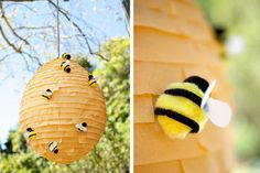 such a cute pinata idea -- I wouldn't want to break it - ortega.com #diy #beehive #pinata