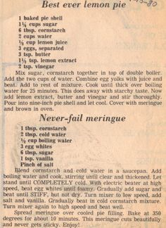 Recipe Clipping For Best Ever Lemon Pie