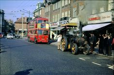 London Trolleybus and Traction Engine in King Street, Twickenham London View, London Bus, London Street, Richmond Surrey, Richmond Upon Thames, Vintage London, Old London, West London, London Transport