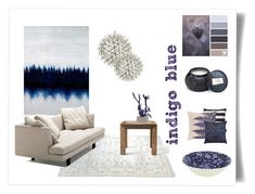 indigo blue by levai-magdolna on Polyvore featuring interior, interiors, interior design, home, home decor, interior decorating, Bensen, Flamant, Burleigh and PTM Images