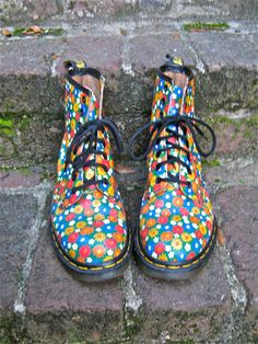 Vintage Springtime Floral Dr Marten Lace Up Daisy Boots by therapyvintage, $148.00