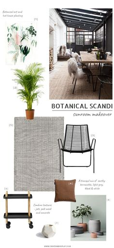 With summer on its way I'm making plans to give our rough and ready sunroom a Botanical Scandi garden room makeover. See the space before and the inspiration behind it. Decor, Boho Interior, Home Renovation, Home, Nordic Interior, Room, Interior, Monochrome Interior, Home Remodeling