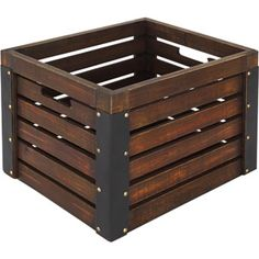 Better Homes and Gardens Wooden Milk Crate, Brown $15.88 Love these for the floor of the pantry for onions, potatoes, and drinks