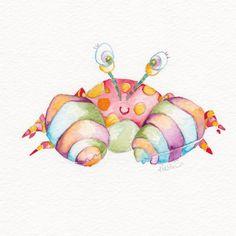 Baby Art Cute Crab Original Watercolor by BrilliantCritter, $50.00