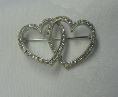 VTG REIS C.R. Co Sterling Silver Interlocking Double Heart Rhinestone Brooch Pin #reiscrco