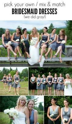 """Looking for budget friendly wedding party dresses but that still look great? Do a mix and match """"pick your own"""" bridesmaid dress! We did gray, everyone chose a dress that suited their budget and style, and it turned out beautifully. - via the sweetest digs"""