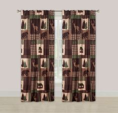 Beatrice Cozy Cabin Window Curtains Panel Pair Drapes Rustic Lodge Deer and Bear 84 Cabin Curtains, Roman Curtains, Ikea Curtains, Drop Cloth Curtains, Farmhouse Curtains, Burlap Curtains, Curtains Living, Hanging Curtains, Window Curtains