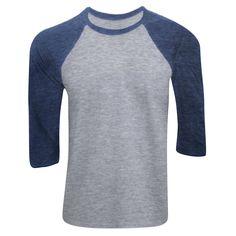 Canvas Mens 3/4 Sleeve Baseball T-Shirt (XS) (Grey/Navy Triblend)