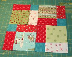 Here's a quick quilt block you can make with 5″squares.  1. Sew 9 of your 5″squares together. First sew together three rows of three blocks, iron flat, and then sew the three…