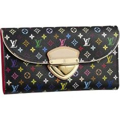 LOUIS VUITTON MONOGRAM MULTICOLORE EUGENIE WALLET M93738 - Monogram Multicolore canvas, beige calf lining, golden brass pieces  - Flap and press lock closure  - Twelve credit card slots in two compartments  - Transparent window for ID or photos  - Two front patch pockets for credit cards or travel pass  - Wide change compartment at the rear