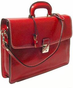 I like this red leather briefcase...