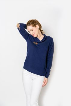 Toggle sweater with a fox elbow patch - in love