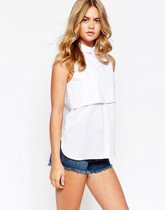 River Island Sleeveless Double Layer Shirt at asos.com #sleevelessshirt #offduty #covetme
