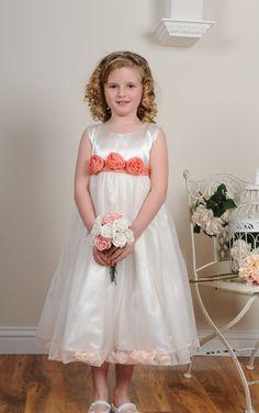 Coral peach sash white flower girl dress