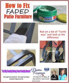 Did you know you can re-fresh your patio furniture with Turtle Wax? Debbie Krogman ~ Realtor #krogmanrealtor #krogmantips #ohshiny #backyard