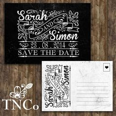 TNCo vintage printed both side ,chalkboard save the date cards, invitation pk10