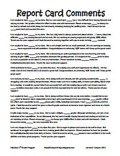 100 Useful Words & Phrases When Writing Report Card Comments For ...