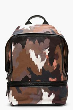 3.1 PHILLIP LIM Black Leather-Trimmed Dark Camo 31 HOUR BACKPACK