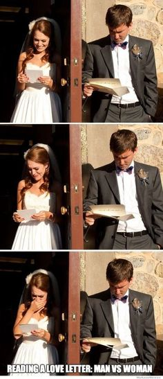 Man vs. Woman - reading a love letter