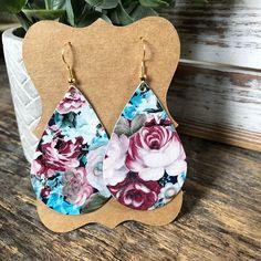 Leather Teardrop earrings - Rose Garden